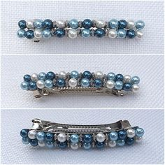 #BlueOmbre Barrette Beaded French Clip Formal Pearl Beaded