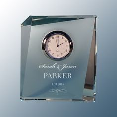 Design's Personalized Tapered Glass Desk Clock with Font Selection (Each) by DesignstheLimit #TrendingEtsy