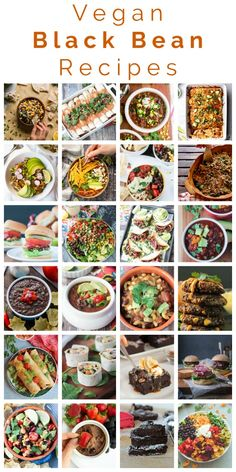 Vegan recipes with black beans - from breakfast and lunch to dinner and snacks and even dessert black beans are an easy high protein healthy addition to a variety of easy meatless vegetarian recipes. Vegan Black Bean Recipes, Vegan Mexican Recipes, Vegan Recipes Videos, Vegan Breakfast Recipes, Delicious Vegan Recipes, Dairy Free Recipes, Whole Food Recipes, Family Recipes, Healthy Recipes