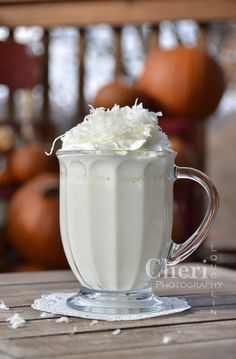 Coconut Cream Pie Hot Drink - Sprinkle lots of sweetened shredded coconut on top of the whipped cream.  {recipe and photo credit: Mixologist...