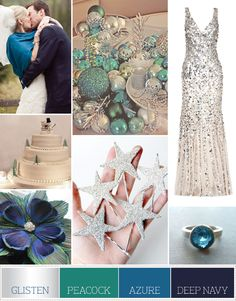 love the color Palette: Glisten, Peacock, Azure and Deep Navy  flower and stars are cute too, but not a big christmas wedding fan