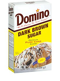 Dark Brown Sugar    To create flavor that's deep, rich, and real, use only Domino® Dark Brown Sugar. It's 100% pure cane sugar and, like light brown, naturally brown all the way through.    Its natural moistness and deep, rich molasses flavor make it ideal for full-flavored or savory recipes. Use it in brownies, gingerbread, coffee or chocolate cakes, fudge, BBQ sauce, marinades, sweet and sour sauce, and pancake syrups.  Dark Brown Sugar    Available Sizes:  1-lb. box with an inner-sealed p...