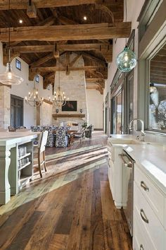Home Remodeling Rustic Kitchen with real reclaimed plank hardwood flooring barn wood shiplap ceiling and 100 year old timber beams and rafters Style At Home, Texas Farmhouse, Modern Farmhouse, Farmhouse Floor Plans, Farmhouse Kitchens, Farmhouse Style, Barn Wood Decor, Barn House Decor, Barn House Plans