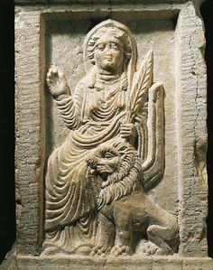 Marble altar depicting the Goddess Allat with a lion, from the Temple of Baal Shamin in Palmyra, Syria. Roman Civilisation, 2nd Century. Palmira, Museo Di Palmira