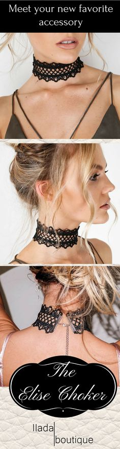 Your new favorite statement necklace - the gorgeous Elise lace choker! Item…(Diy Necklace Choker)