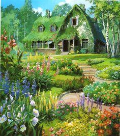 gorgeous studio Ghibli background art