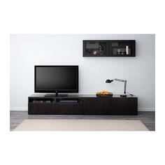 BESTÅ Kombinacja na TV/szklane drzwi - Hanviken/Sindvik czarnobrązowe szkło przezroczyste, prowadnica, samodomykająca się - IKEA