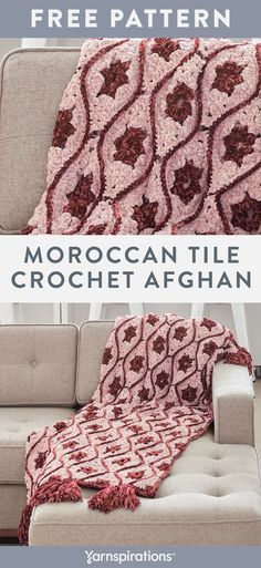 Free Crochet Pattern | Bernat Velvet Moroccan Tile Crochet Afghan | #Yarnspirations #FreeCrochetPattern #CrochetBlanket #Bernat #BernatVelvet #Caron #Patons #LilySugarNCream Knit Or Crochet, Cute Crochet, Crochet Motif, Crochet Blanket Patterns, Afghan Crochet Patterns, Cable Knit Blankets, Crochet Blankets, Crocheted Afghans, Crochet Projects