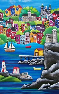 The Harbour - The Grumpy Goat Gallery Gros Morne, Newfoundland And Labrador, Naive Art, Whimsical Art, Painted Rocks, Painted Houses, Home Art, Art Projects, 1