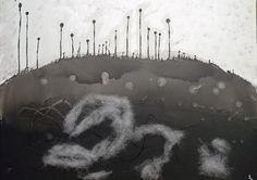 Guerre d'or noir Acrylique sur toile,  agrémenté d'un collage de mousse 74x55 cm Mai 2015