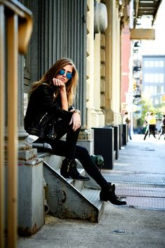 ANINE BING BOOTIES 3.1 PHILLIP LIM WEIRDO TSHIRT ANINE BING LEATHER JACKET J BRAND BLACK JEANS VITA FEDE BRACELETS TOD'S D BAG RAY-BAN SUNGLASSES