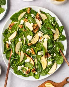 Spinach Salad with Apples, Walnuts, and Feta | Kitchn Quick Side Dishes, Healthy Side Dishes, Side Dish Recipes, Lunch Recipes, Salad Recipes, Healthy Recipes, Healthy Sides, Apple Recipes, Spinach Recipes