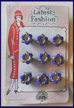 Vintage Art Deco card with pretty blue and gold Czechoslovakia glass buttons.
