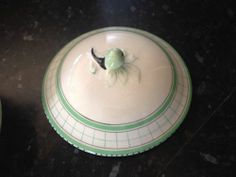 Rare British Anchor Cottage Green Art Deco Bowl And Lid Handpainted