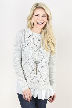 Chiffon Trim Pullover Lumiere Evereve.  So cute, love how feminite yet comfy it looks