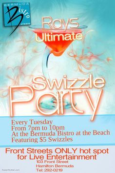 Join @raypasnen for a #Swizzle party every Tuesday night at Bermuda Bistro at The Beach, Front Street, Hamilton #Bermuda