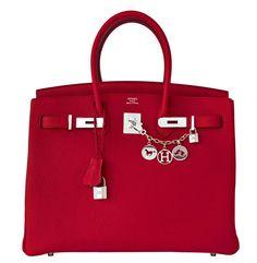 #Hermes Birkin #Bag Rouge Grenat Togo Palladium Hardware