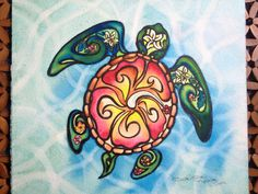 Baby Turtle - Framed Original Painting, Baby Sea Turtle, Tropical Hawaiian Flower - Fine Art Watercolor Painting - by artist Christie Marie on Etsy, $150.00