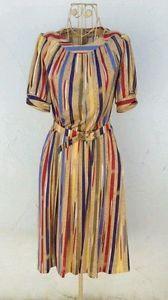 Damen-Kleid-blau-rot-Streifen-70er-True-VINTAGE-70-s-women-Sommer-summer