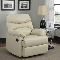 Tucker Almond Bonded-Leather Recliner - Overstock™ Shopping - Big Discounts on Recliners