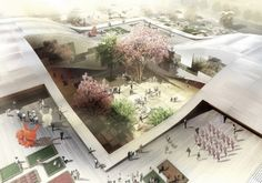 . The central exhibition space of the building opens up visually through glass facades to the courtyard connecting the interior spaces with the exterior courtyard. Arch2O_dqz_cultural_center_hao_04