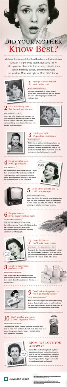 The truth about Mom's #health advice. #infographic #mothersday