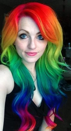 Serious. Rainbow. Hair. She always has the best hair, she is SO talented and it pisses me off that people think she photoshops to create these effects. IDIOTS, she's all over the internet on various hair sites + you can SEE the progression/change of her colors and skills. MORONS.