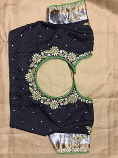 Best Blouse Designs, Silk Saree Blouse Designs, Black Saree Blouse, Aari Work Blouse, Maggam Works, Designer Blouse Patterns, Embroidered Blouse, Indian Designer Wear, Baby Girl Dresses