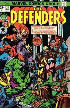 The Defenders 24 VF 7 5 Marvel 1975 Hulk Dr Strange Nighthawk Daredevil Cage Old Comic Books, Comic Books For Sale, Marvel Comic Books, Comic Book Heroes, Marvel Dc Comics, Marvel Characters, Horror Comics, Marvel Heroes, Old Comics