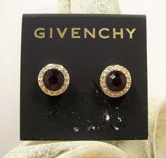 Givenchy Round Red Stone Crystal Accented Gold Tone Stud Earrings MSRP $38...Only $29.99 with free shipping!  #Givenchy #Stud