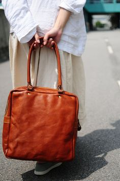 Hand Stitched Soft Brown Leather Tote Bag