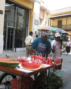Streets market at Cartagena watermelon treat on a hot day.