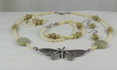 Green Girl Studios Buttefly Beaded Necklace with Bracelet