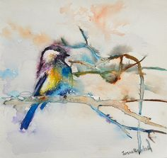 Wall art Watercolor Print . Bird Art digital by TatyanaIlieva