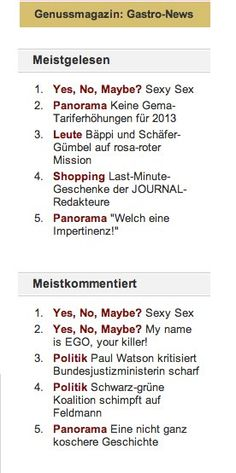 """My SEXY SEX article made it to Number 1 of the most-read articles on Journal Frankfurt! I'm so so so happy! Thank you dear readers for your support! :-)    """"Yes, No, Maybe?"""" is a column about love, sex, relationships and life. Published in Journal Frankfurt. www.journal-frankfurt.de/galia"""