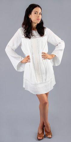 Ivory White Crepe Crochet Tunic Dress