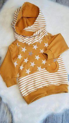 Sweater - hoodie boy wrap hood star sweater baby kids - a designer piece . Pullovers – hoodie boy wrap hood star sweater baby kids – a unique product by LittleFrieda-Kids Baby Pullover, Pullover Hoodie, Sweater Hoodie, Baby Boy Outfits, Kids Outfits, Cute Outfits, Sewing For Kids, Baby Sewing, Fashion Kids