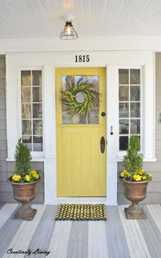 Farmhouse Exterior Colors Curb Appeal Porches 66 Ideas For 2019 Yellow Front Doors, Front Door Paint Colors, Exterior Paint Colors For House, Painted Front Doors, Paint Colours, Siding Colors, Front Doors With Windows, Interior Exterior, Exterior Doors