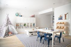 A bright blue and white children's playroom Modern Pantone classic blue and white playroom Playroom Table, Playroom Rug, Modern Playroom, Toddler Playroom, Playroom Furniture, Playroom Design, Pottery Barn Playroom, Children Playroom, Playroom Flooring