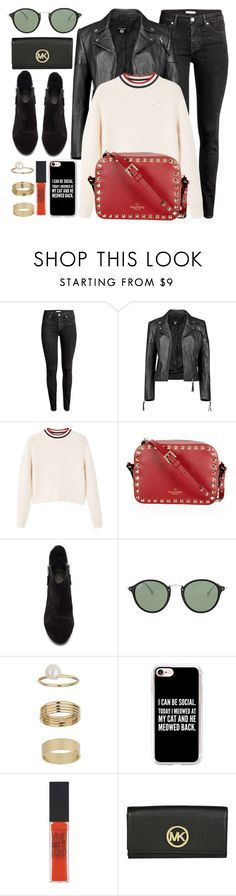 """""""Everyday Look"""" by monmondefou ❤ liked on Polyvore featuring H&M, Boohoo, MANGO, rag & bone, Ray-Ban, Miss Selfridge, Casetify, Maybelline, black and red"""