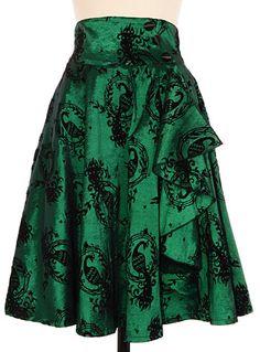 Shimmering Peacock Flocked Skirt at PLASTICLAND