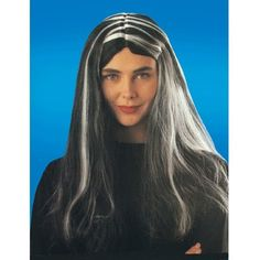 Witch Wig Black w/ White Streaks >>> Want to know more, click on the image.