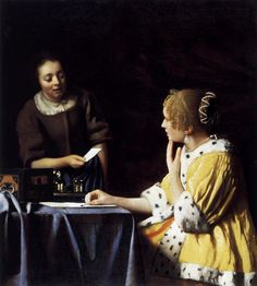 Johannes Vermeer - circa 1664, Lady with Her Maidservant Holding a Letter.