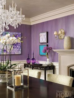 30 Awesome Purple Living Room Wall Color Ideas You Have To Copy Design Interior, Interior Modern, Room Interior, Room Wall Colors, Purple Interior, Purple Home Decor, Purple Home Offices, Purple Office, Living Room Ideas