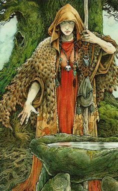 Wildwood Tarot II The Seer aka High Priestess Tarot Card Decks, Tarot Cards, Wildwood Tarot, Shaman Woman, The Magic Faraway Tree, Harmony Art, Major Arcana, Oracle Cards, Archetypes