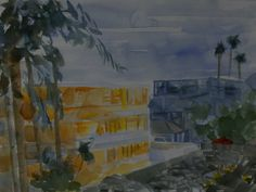 Our beach hotel at sunset from a few years ago.  I tried to make the palm trees a more painterly stroke and was only partly successful.