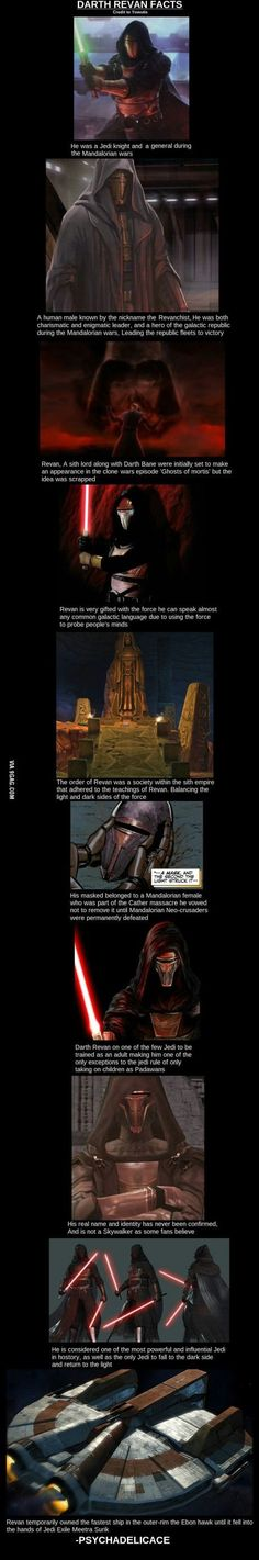 The one here that annoys me most says that 'Darth Revan is the only jedi to go to the dark side and turn to the light' what about Anakin/Vader? Star Wars Trivia, Simbolos Star Wars, Theme Star Wars, Star Wars The Old, Star Wars Facts, Anakin Vader, Darth Revan Mask, Anakin Skywalker, Star Wars Kotor