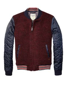 Bouclé Bomber Jacket With Quiled Satin Sleeves  - Sir Safari Pop by Scotch & Soda