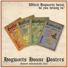 Hogwarts House Posters by MishyDee on Etsy
