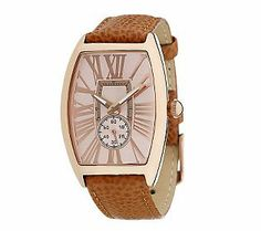 Bronzo Italia Roman Numeral Tortue Shaped Dial Leather Strap Watch - QVC    J280444